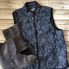 Croft & Barrow Vest Croft & Barrow Black, Gray, & Teal insulated Snap front vest. Front zip pockets. SZ L. Croft & Barrow Jackets & Coats Vests