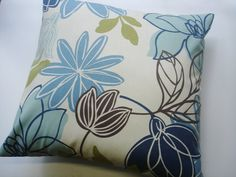 "BLUE THROW PILLOW - Blue / navy Pillow Covers -  16"" x 16 ""  A floral by Magnolia Home  Fabric front & back - Accent Pillow  Decorative"