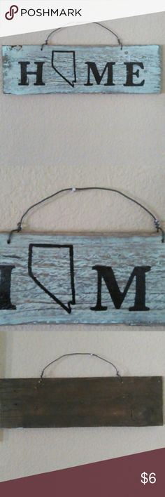 "Handmade NV sign handmade NV sign home decor Approximately 12"" long x 1/2"" thick With wire hanger Soft green over wood tones  **NO two alike - wood grain varies, thickness varies** I am not a professional I just like to make rustic decor Other"