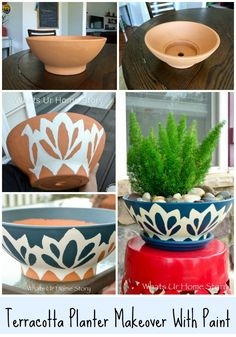Give a plain terracotta planter a makeover with paint -foxtail fern- blue and white pottery DIY
