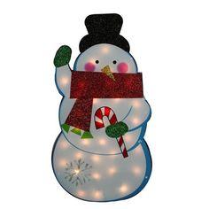 Standing Tinsel Snowman Lighted Christmas Yard Art Decoration