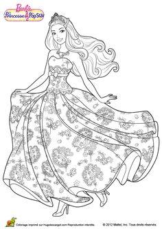 Image à colorier de Barbie habillée d'une très belle robe de princesse.