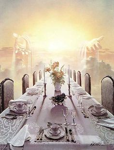 Marriage or Wedding Supper of the Lamb Jesus Christ - Bride - Holy City - New Jerusalem - Zion - - Revelation Chapter 19 Heaven Painting, Heaven Art, Heaven Pictures, Jesus Pictures, Braut Christi, Arte Judaica, Bride Of Christ, Jesus Is Coming, Prophetic Art