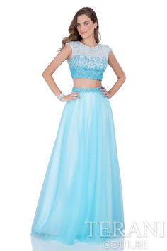 Two piece prom dress with pearl and sequin encrusted crop top with open back. Visit www.meranski.com for more!