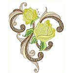 Jacobean Roses Quality Machine embroidery design. Hatched in Africa