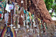 rosaries and scapulars left behind in prayer at the Santuario de Chimayo in NM
