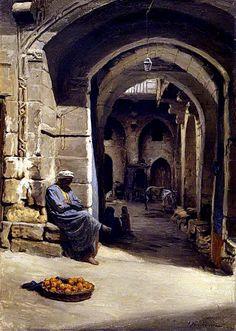 *EGYPT ~ The Orange Seller , Cairo Joseph Farquharson (British - ). Beautiful Paintings, Your Paintings, Jean Leon, Empire Ottoman, Middle Eastern Art, Arabian Art, Old Egypt, Academic Art, Illustration