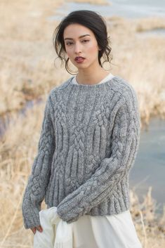 Chase the chill with the Klondike Pullover by Mary Anne Benedetto, an unexpectedly sophisticated garment that blends heritage elements with modern design. This chunky knitted pullover features 3x3 rib accented with large cable motifs and set-in saddle shoulders. Find it in Interweave Knits, Winter 2018!