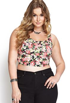 Ugggh! This is LIFE! I WANT IT!! Floral Print Crop Top | FOREVER21 #F21Plus #SummerForever