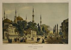 HIPPODROME AT MOSQUEE DU SULTAN AHMET, CONSTANTINOPLE. By Jean-Baptiste Eugene Napoleon Fladin Original antique lithograph  Drawn and engraved by by E. Flandin  Hand coloured  Published by Gide & J. Baudry, Paris 1853  Image size: 32 x 22 cms
