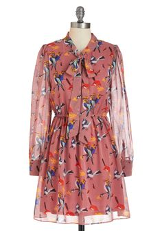 Try a New A-perch Dress - Pink, Multi, Print with Animals, Long Sleeve, Fall, Mid-length, Sheath / Shift, Work, Sheer, Tis the Season Sale