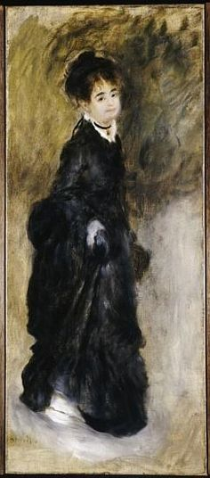 Pierre-Auguste Renoir - A young woman, full length, holding up her skirt