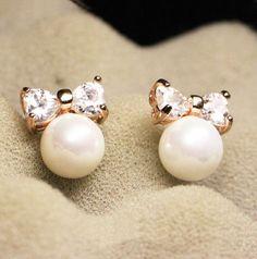 Pearl and Heart Bow Rhinestone Earrings - LilyFair Jewelry