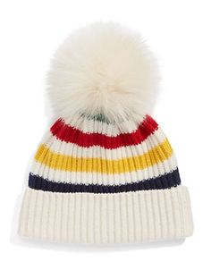 "<ul> <li>Ribbed hat styled with iconic stripes and fox fur pom pom</li> <li>Cuffed hem, about 3""</li> <li>50% wool/50% acrylic</li> <li>Fur type: dyed fox fur</li> <li>Fur origin: China</li> <li>Dry clean</li> <li>Imported</li> </ul>"