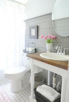 Beneath my heart blog | guest bathroom | paneled walls More