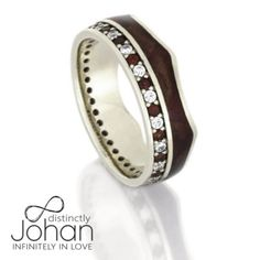 Crown Ring, Gemstone Eternity Wedding Band, White Gold Ring With Wood Inlay-DJ1020WG