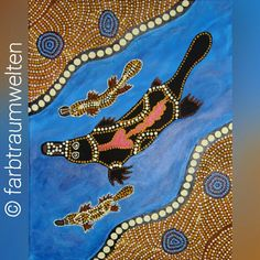 Aboriginal art dot painting for kids projects to try platypus and two babys dotpainting punktmalerei illustration nach aboriginal art solutioingenieria Choice Image
