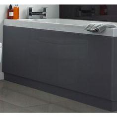 Side bath panel in high gloss memoir grey. Easy to clean washable melamine coating. 5 Year guarantee: Hudson Reed guarantee this bath panel for 5 years. inc VAT & Delivery Loft Bathroom, Grey Bathrooms, Bathroom Interior, Bathroom Ideas, Wooden Bath Panel, Wood Bath, Toilet Vanity Unit, Bath Front Panel, Grey Baths