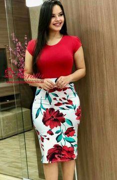 Floratta Modas - Moda Evangélica - A Loja da Mulher Virtuosa Pencil Skirt Outfits, Dress Outfits, Fashion Outfits, Pencil Skirts, Pencil Dress, Fashion Kids, Fashion Fashion, Trendy Fashion, Dress Skirt