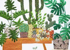 12 inch Hand Stitched Potted Garden Modern par SarahKBenning