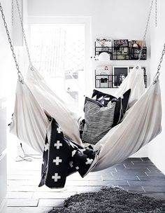 Lounge + Interior Hammock + Edgy Black and White