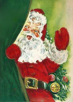 ✿⊱♡ Vintage Christmas Card w/ Santa ♡✿⊱ Old Time Christmas, Old Fashioned Christmas, Christmas Past, Father Christmas, Vintage Christmas Cards, Retro Christmas, Vintage Holiday, Christmas Pictures, Christmas Greetings