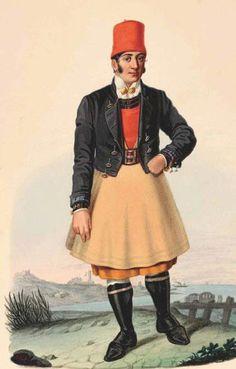 Abito tradizionale festivo dei beccai di Cagliari Acquerello su cartoncino, raffigura un uomo in abito tradizionale di Cagliari.  Giovanni Gessa – Acquerelli 1858 - 1860