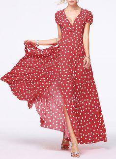 Dress - $53.99 - Polka Dot Ruffles V-Neckline Maxi A-line Dress (1955192118)