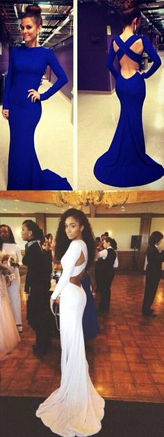 Top Selling Long Sleeves Open Back Royal Blue Mermaid Prom Dress High Neck Trumpet Spandex Long Sexy Prom Dresses Court Train White Evening Dress Prom Graduation Dress Bridesmaid Dresses Celebrity Dress