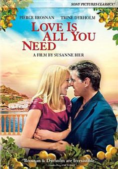 (2012)Love is All You Need van reg. Susanne Bier - A hairdresser who has lost her hair to cancer finds out her husband is having an affair, travels to Italy for her daughter's wedding and meets a widower who still blames the world for the loss of his wife. - 6,6 op IMDB http://www.imdb.com/title/tt1854236/?ref_=fn_al_tt_1