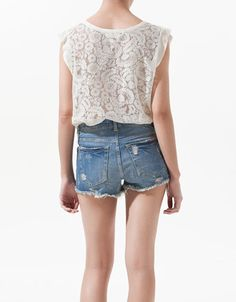 T-SHIRT WITH LACE BACK - T-shirts - Woman - New collection - ZARA