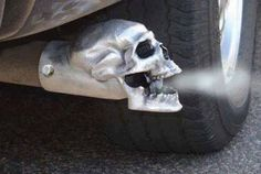Skull Exhaust Tip (Unpolished) - Sold Individually. Our unpolished skull is bad ass! Great as a truck accessory! Event better on a Harley or Hot Rod! Part Number: MD Skull Tip Unpolished. UnPolished Skull Exhaust Tip. Rat Rod Trucks, Rat Rods, Chevy Trucks, Pickup Trucks, Big Trucks, Lifted Chevy, Semi Trucks, Rat Rod Pickup, Dually Trucks
