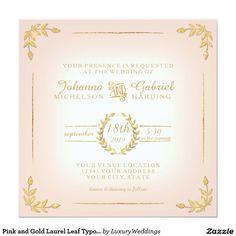 Pink and Gold Laurel Leaf Typography Modern Simple