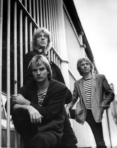 """The Police (1979) - part of a photo session from wich one was later taken for the 7"""" cover of """"Walking O Th Moon""""."""
