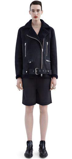 Acne Studios More Shearling Dark Blue Shearling biker jacket