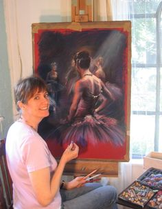 Rebecca de Mendonca drawing with pastel