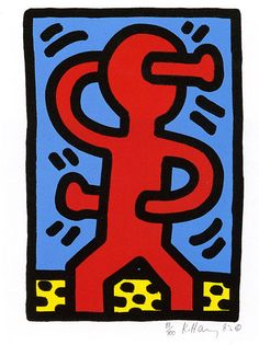 haring k., hand through head
