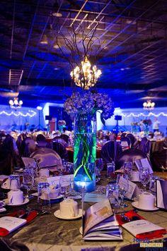 LED lit vase with flowers