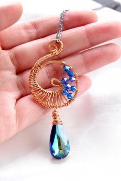 Copper Wire Wrapped Spiral Swarovski Pendant