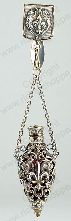 ANTIQUE c.1890 FRENCH CAGED RUBY CRYSTAL CHATELAINE SCENT PERFUME BOTTLE. This item is sold, to visit my website to see what's in stock click here: http://www.richardhoppe.co.uk or for help or information email us here: info@richardhoppe.co.uk