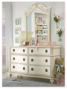 6 draer white dresser ith mirror distressed