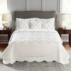 Coral Bedding Sets, Aqua Bedrooms, French Provincial Bedroom, Chenille Bedspread, Queen Bedroom, At Home Workout Plan, Sonoma Goods For Life, Beautiful Bedrooms, Linen Bedding