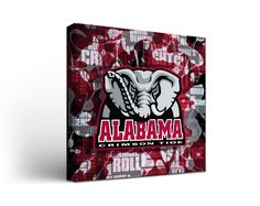 Alabama Crimson Tide Canvas Wall Art Fight Song Design (12x12)