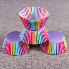 Košíčky na muffiny a cupcakes - duhová barva - 100 kusů