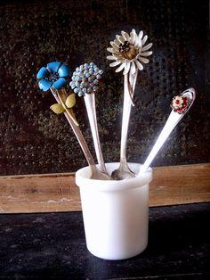 Garden Decor, Vintage Fork Plant Marker,Spring Flower Supply, Garden Bling on Etsy, $7.00