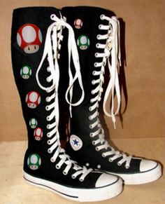 Mario Converse-Knee High Custom designs and by whimsybykelly