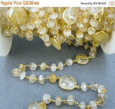 35% off Wholesale Rutilated Crystal Quartz Wire Wrapped Beaded