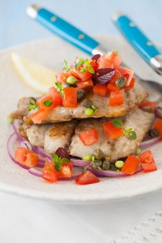 Pan-fried Lemon Bluefish with Caper-Tomato Salsa   Cooking Melangery