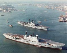 """apostlesofmercy: """"HMS Eagle lay at anchor awaiting the breakers yard as her sister Ark Royal passes by - circa """" Royal Navy Aircraft Carriers, Navy Carriers, British Aircraft Carrier, Hms Ark Royal, Navy Day, Capital Ship, Naval History, British History, Military History"""