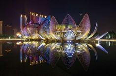 "Wujin Lotus Conference Center by Studio505, Wujin, China The opalescent Lotus building takes inspiration from the lotus in its three states, from ""the new young bud, to the full ripe flower, through to the opened bloom with a seed pod within."" This flamboyant architectural spectacle is only emphasized by night, when a complex lighting system turns the building fuchsia, then golden yellow, then aquamarine."